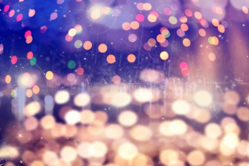 fundo m?gico do feriado com bokeh borrado de lihjts do Natal imagens de stock royalty free