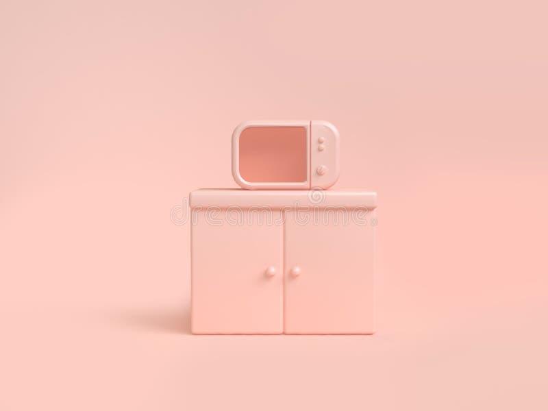 Fundo macio 3d do cor-de-rosa-creme do sumário da micro-ondas para render o conceito da cozinha do objeto ilustração do vetor