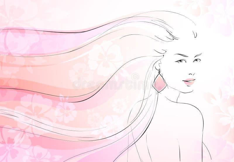 Fundo macio da flor com moça ilustração royalty free