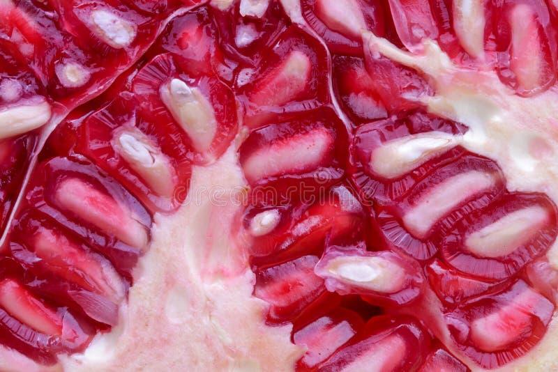 Fundo macro das vitaminas do vegetariano do vegetal de fruto da romã imagens de stock
