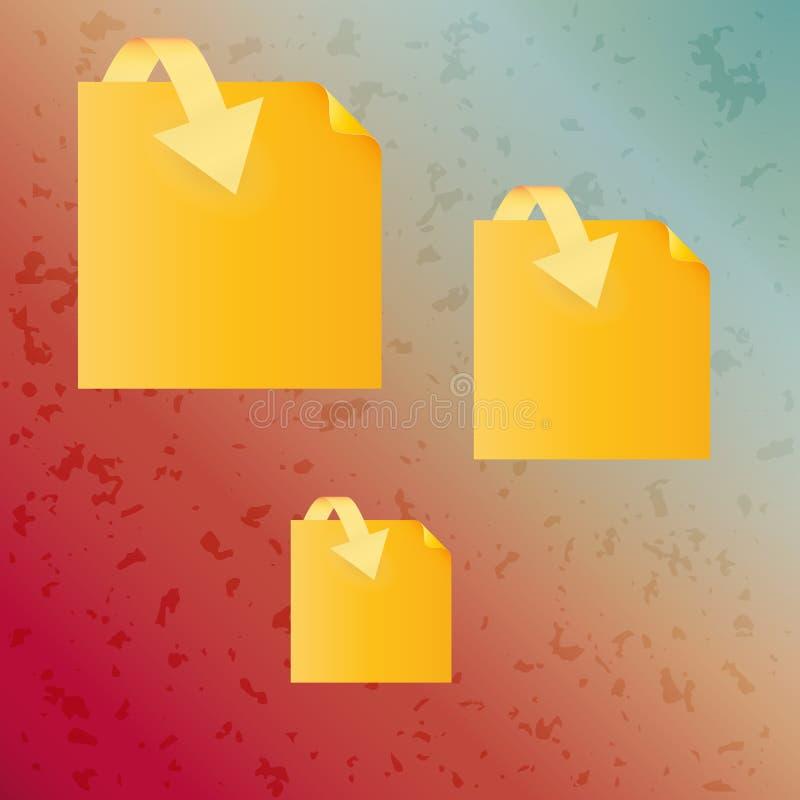 Fundo manchado e papel amarelo com seta ilustração royalty free
