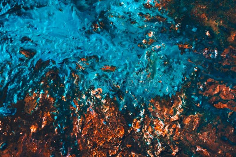 Fundo marrom azul da pintura do lago abstrato da montanha ilustração royalty free