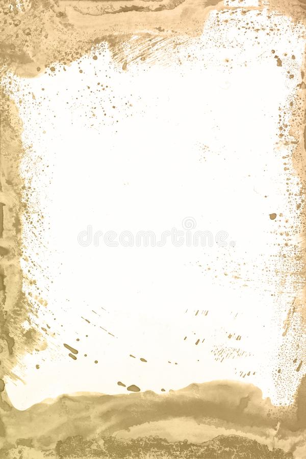 Fundo marrom da pintura da aquarela Mão mágica da arte tirada imagem de stock royalty free