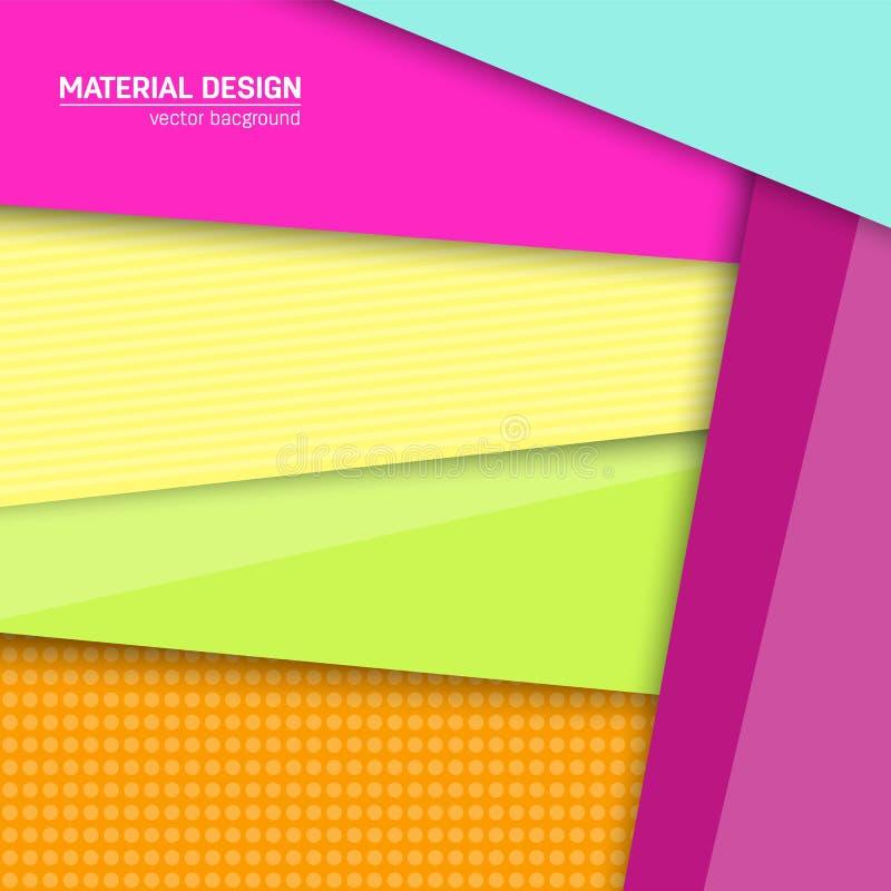 Fundo material do projeto do vetor Molde criativo abstrato da disposição do conceito Para a Web e o app móvel, desig de papel da  ilustração stock