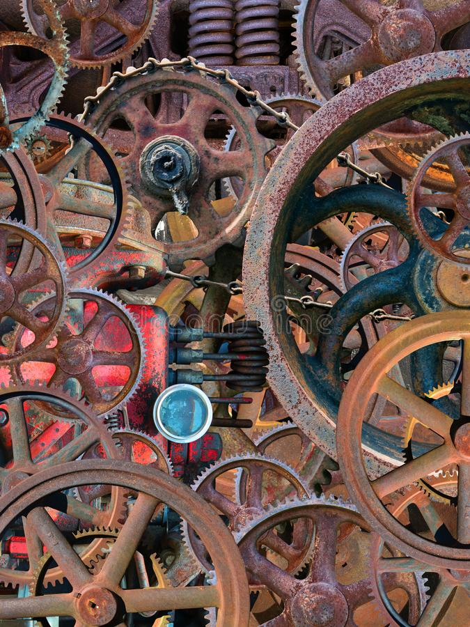 Fundo mecânico industrial do papel de parede de Steampunk