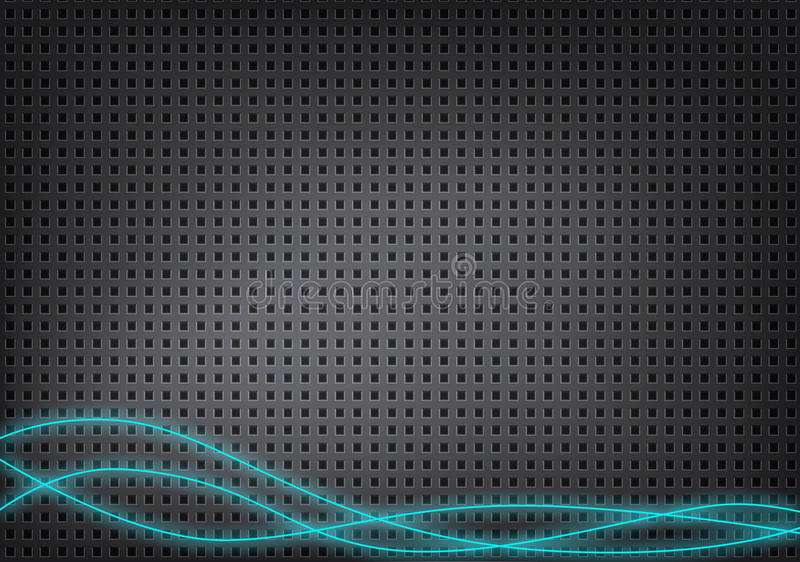 Fundo metálico absoluto com furos pequenos e linhas azuis ilustração stock