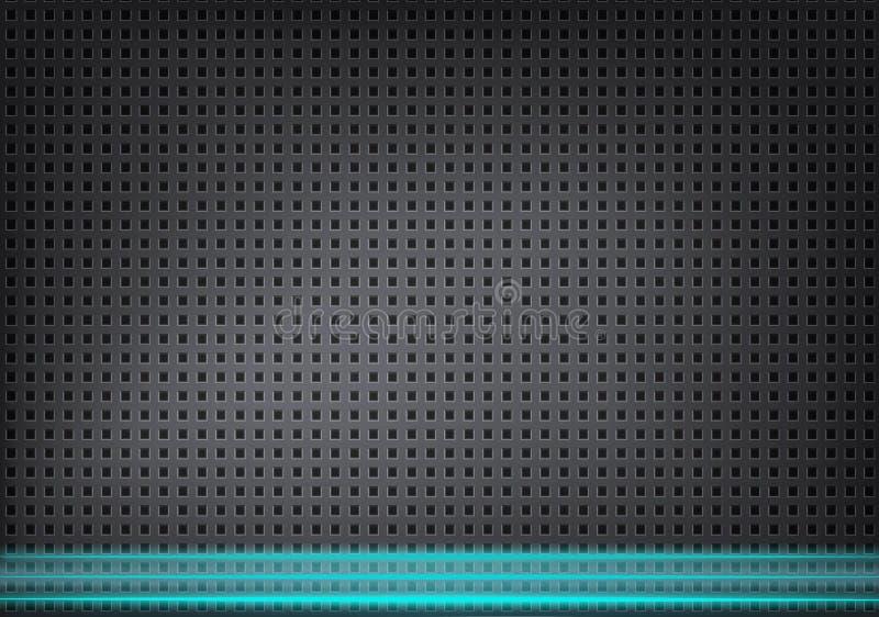 Fundo metálico absoluto com furos pequenos e linhas azuis ilustração royalty free