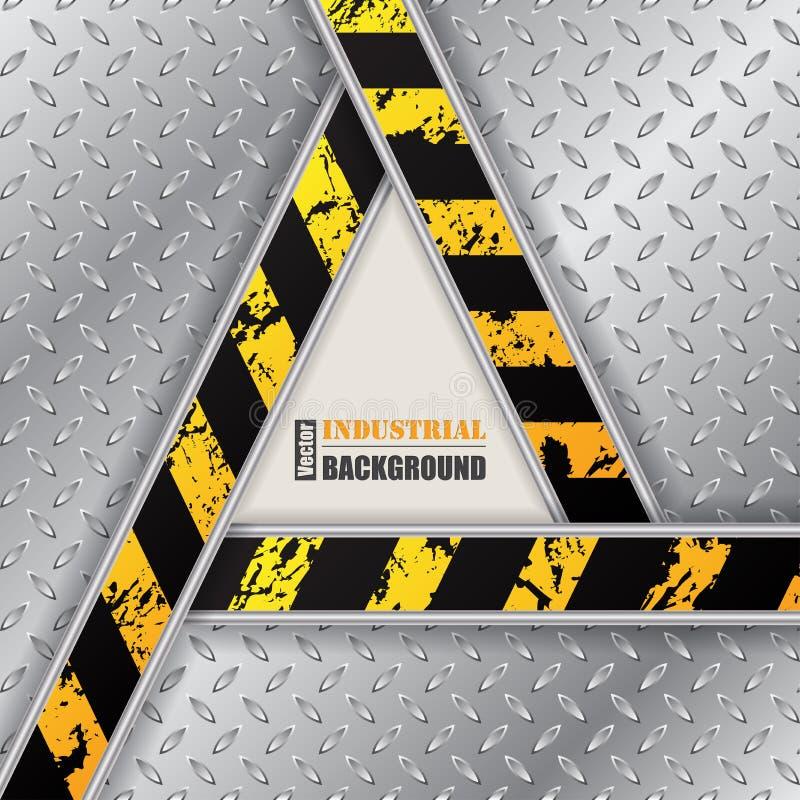 Fundo metálico abstrato da placa com triângulo do grunge ilustração stock
