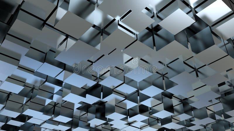 Fundo metálico abstrato dos cubos 3D ilustração royalty free