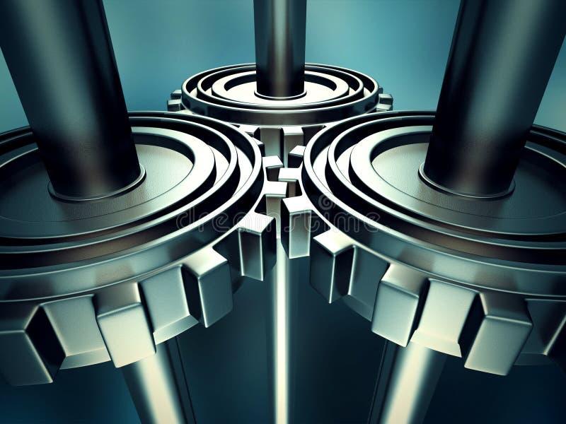 Fundo metálico das engrenagens de funcionamento da roda denteada ilustração do vetor