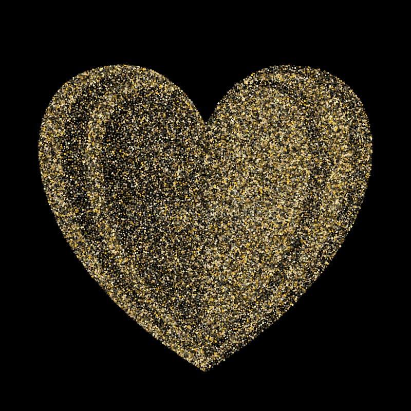 Fundo metálico do vetor do coração dos confetes da poeira do brilho dos sparkles do ouro ilustração royalty free