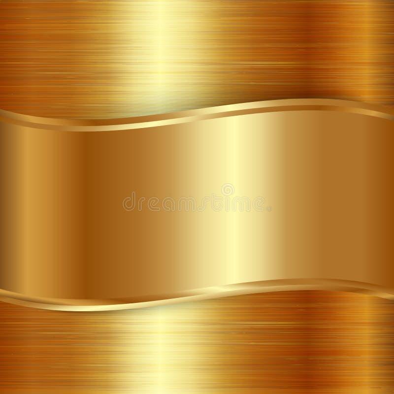 Fundo metálico escovado ouro da chapa do vetor ilustração do vetor