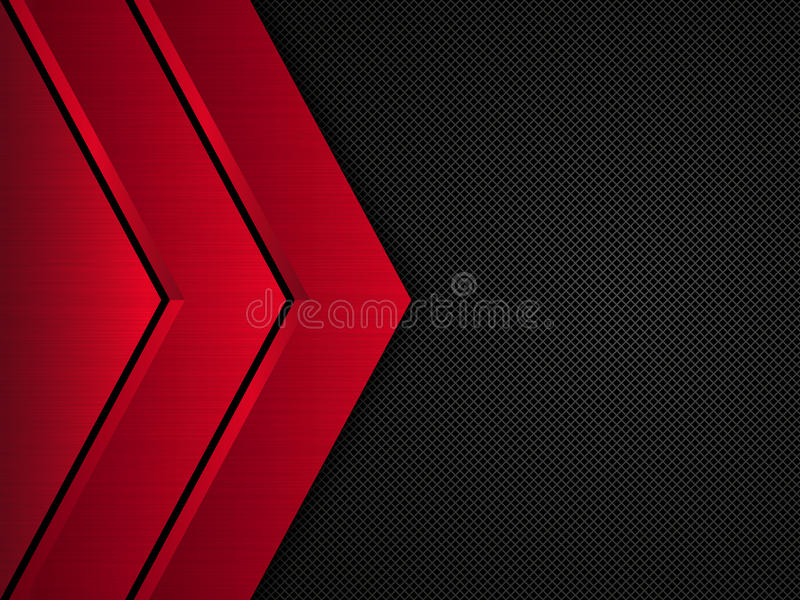 Fundo metálico preto e vermelho Bandeira metálica do vetor Fundo abstrato da tecnologia ilustração royalty free