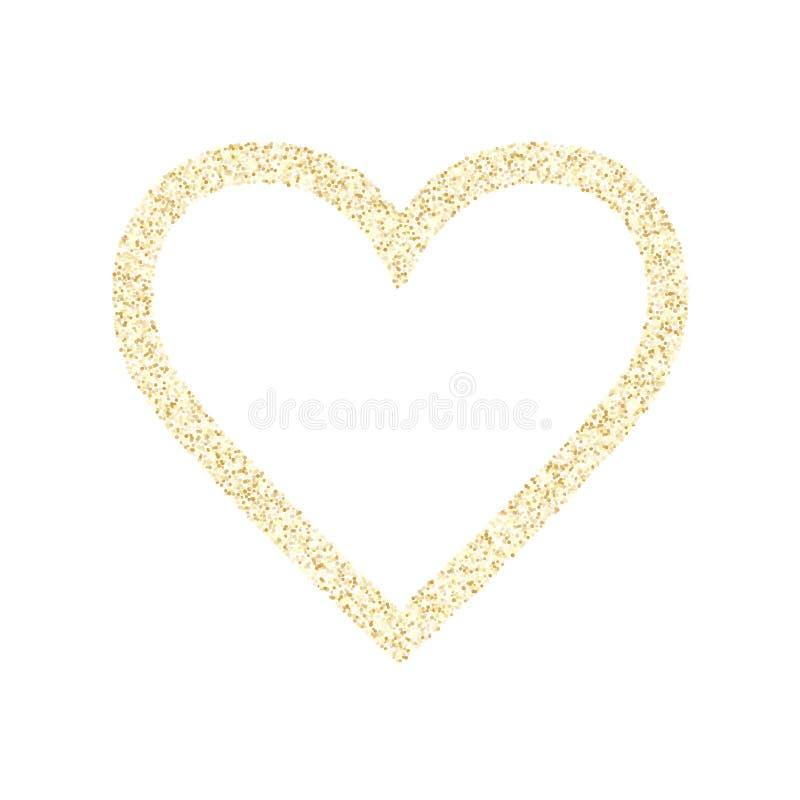 Fundo met?lico do vetor do cora??o dos confetes da poeira do brilho dos sparkles do ouro ilustração do vetor