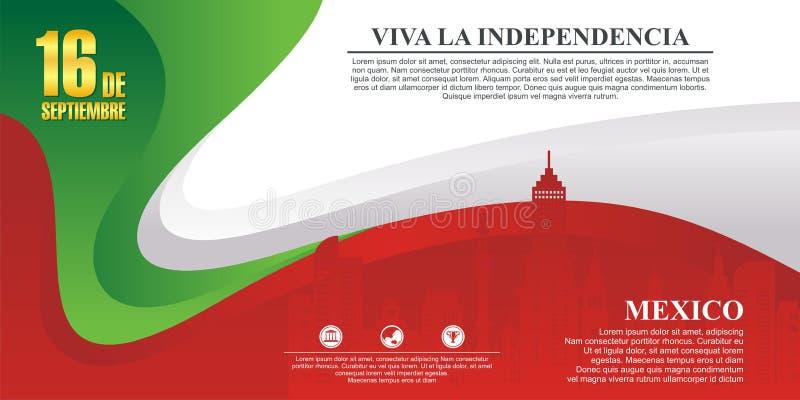Fundo mexicano do Dia da Independência com projeto à moda da onda foto de stock