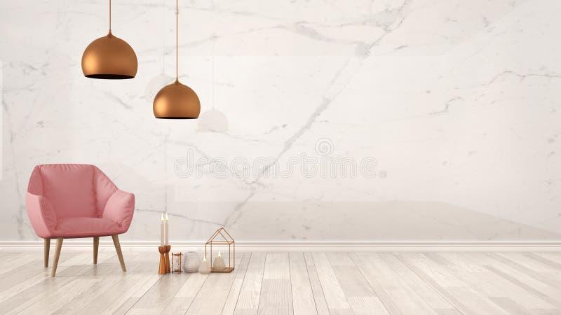 Fundo minimalista do conceito do desenhista do arquiteto com parede de mármore, a poltrona cor-de-rosa, as velas e a decoração no imagens de stock royalty free
