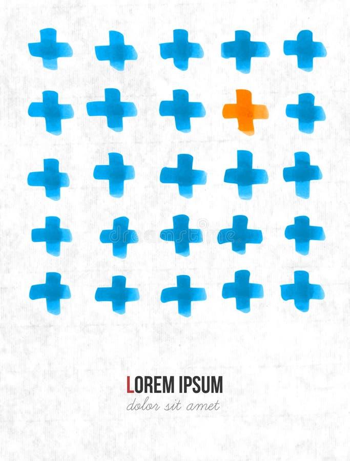 Fundo minimalistic abstrato com elementos alaranjados e azuis e lugar para seu texto ilustração royalty free