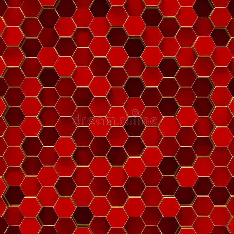 Fundo minimalistic abstrato com hexágonos vermelhos ilustração stock