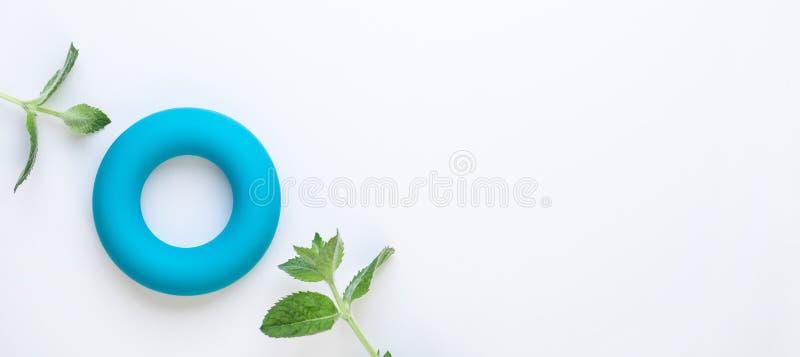 Fundo minimalistic zero do conceito do caloria e o zero do desperdício Toro azul e folhas de hortelã verdes frescas no fundo bran imagem de stock royalty free