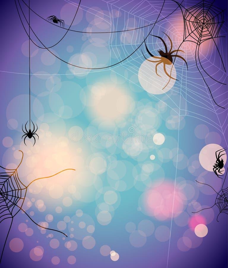 Fundo misterioso com aranhas ilustração stock