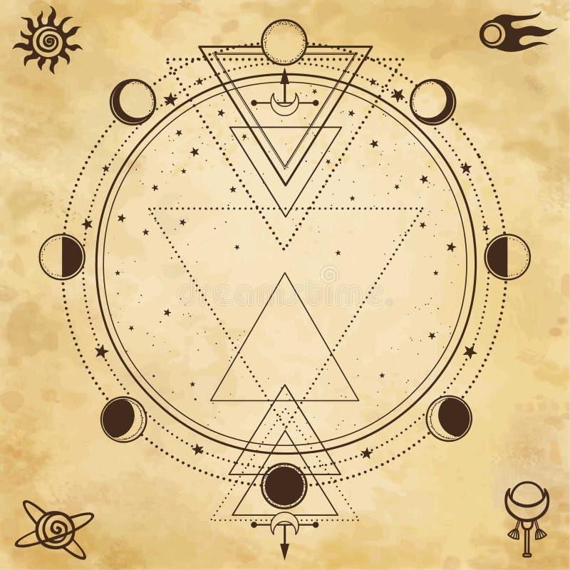 Fundo misterioso: geometria sagrado, fases da lua ilustração royalty free