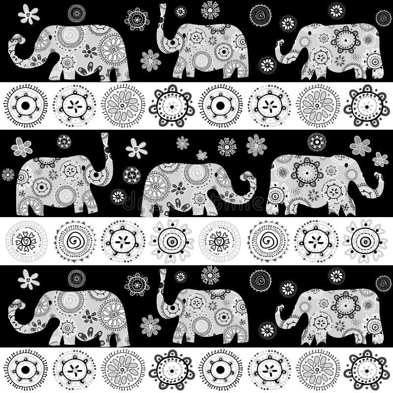 Fundo modelado floral étnico dos elefantes ilustração do vetor