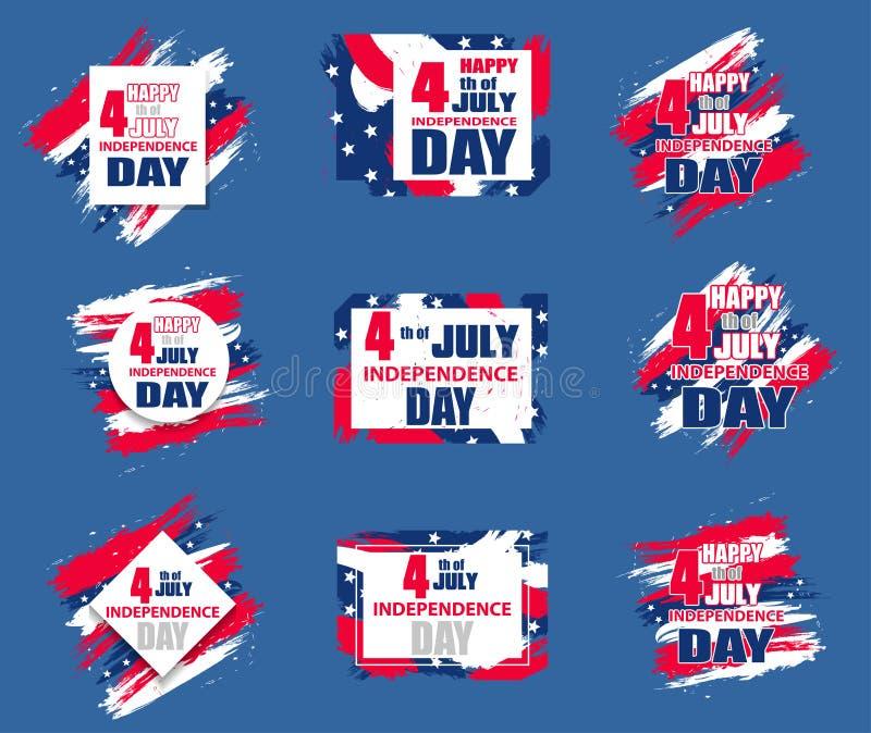 Fundo moderno colorido ajustado para Dia da Independência EUA o 4 de julho Elementos dinâmicos para um inseto, venda do projeto,  ilustração royalty free