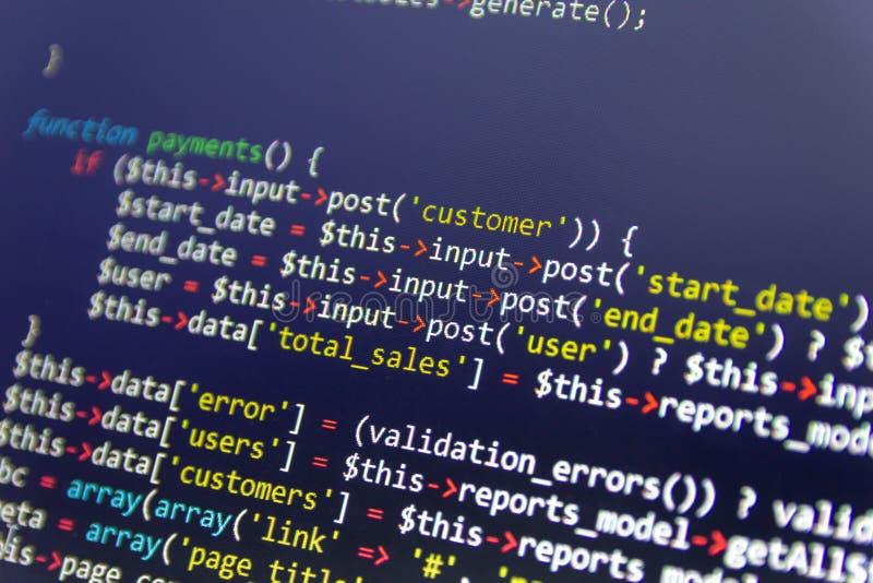 Fundo moderno do desenvolvimento da Web Partes abstratas de código do PHP fotos de stock