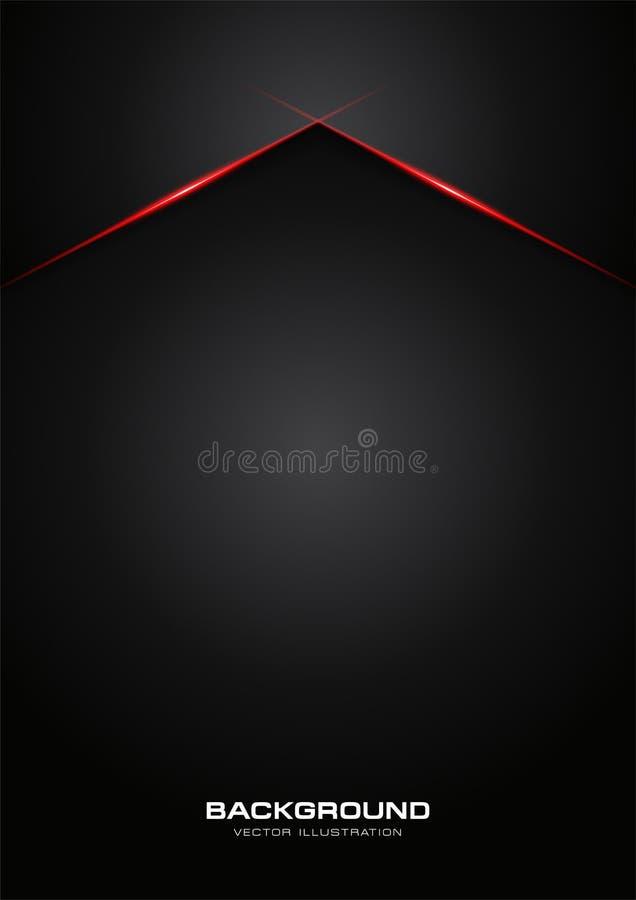 Fundo moderno do molde do vetor do projeto da tecnologia da disposição brilhante vermelha metálica abstrata do quadro do preto da ilustração royalty free