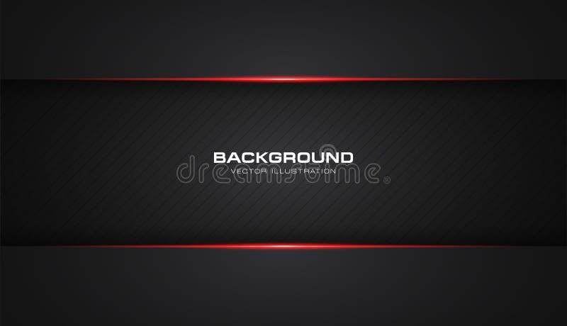 Fundo moderno do molde do vetor do projeto da tecnologia da disposição brilhante vermelha metálica abstrata do quadro do preto da ilustração do vetor