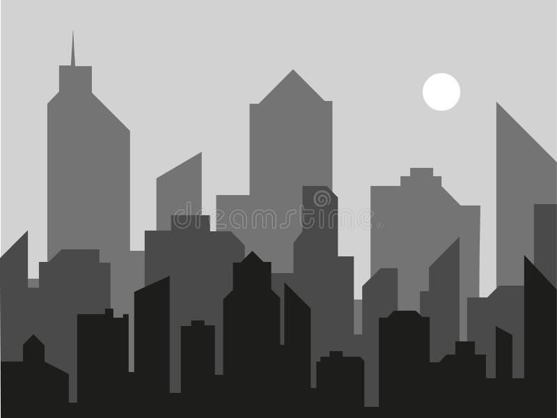 Fundo moderno do vetor da paisagem da cidade Ilustra??o do vetor da skyline da cidade Silhueta urbana do preto da paisagem de Gor ilustração do vetor