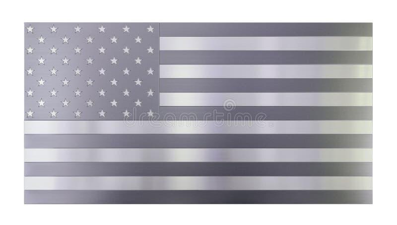 Fundo moderno fresco isolado, bandeira isolada dos EUA feita fora dos tipos diferentes de pranchas escovadas do metal, de aço ino ilustração royalty free