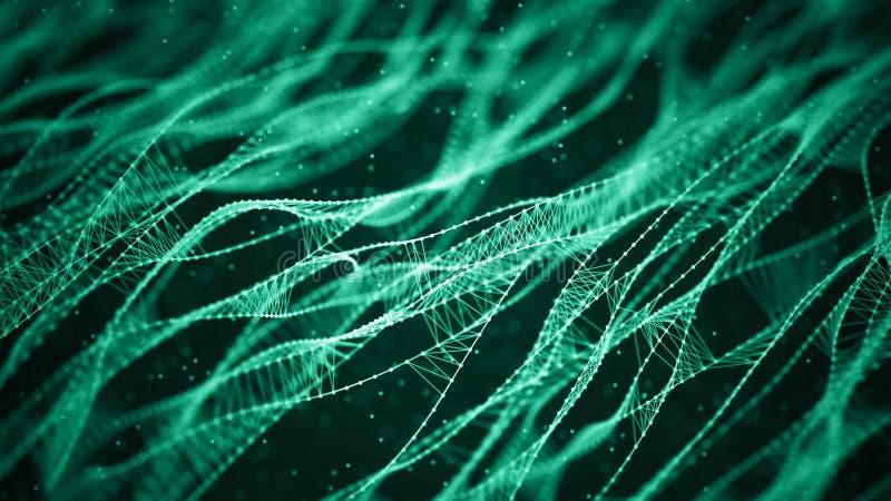 Fundo molecular com ADN Conceito da rede com pontos e linhas de conex?o Part?culas abstratas ilustração do vetor