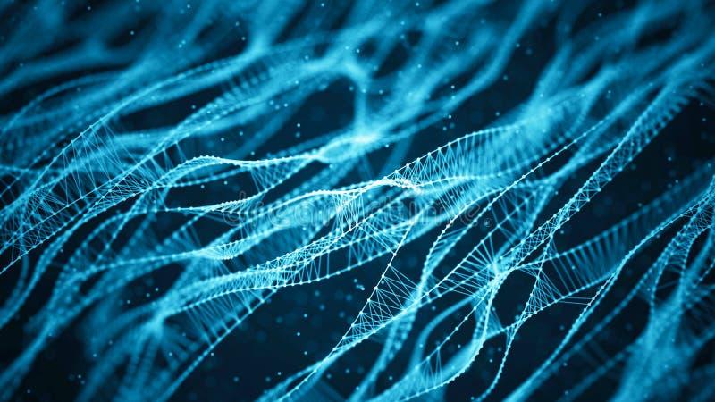 Fundo molecular com ADN Conceito da rede com pontos e linhas de conex?o Part?culas abstratas ilustração stock