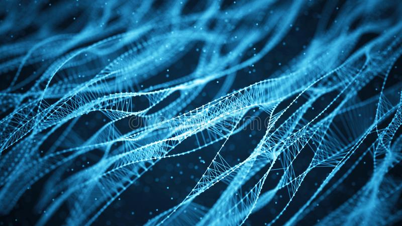 Fundo molecular com ADN Conceito da rede com pontos e linhas de conex?o Part?culas abstratas ilustração royalty free