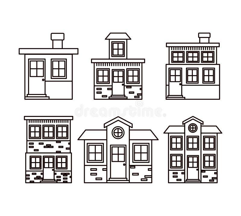 Fundo monocromático com grupo de fachadas das casas ilustração do vetor