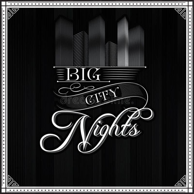 Fundo monocromático da tipografia das noites grandes da cidade ilustração royalty free