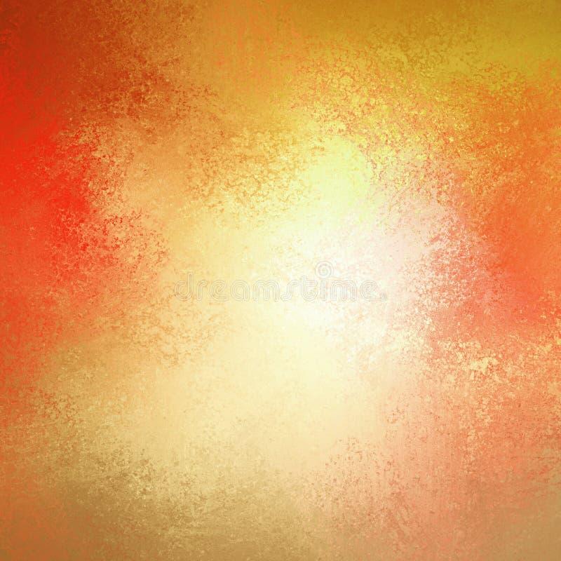 Fundo morno do outono no ouro cor-de-rosa vermelho amarelo e alaranjado com textura branca do centro e do fundo do grunge do vint foto de stock royalty free