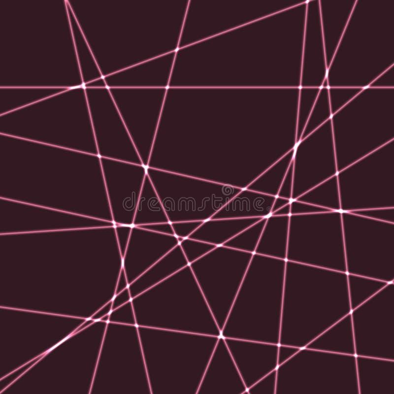 Fundo muito escuro com raios cor-de-rosa do laser ilustração stock