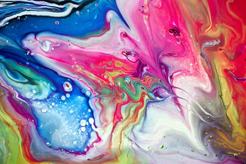 Fundo multi-colorido abstrato da pintura Textura acr?lica com teste padr?o de m?rmore wallpaper Pinturas de mistura Arte moderna imagem de stock