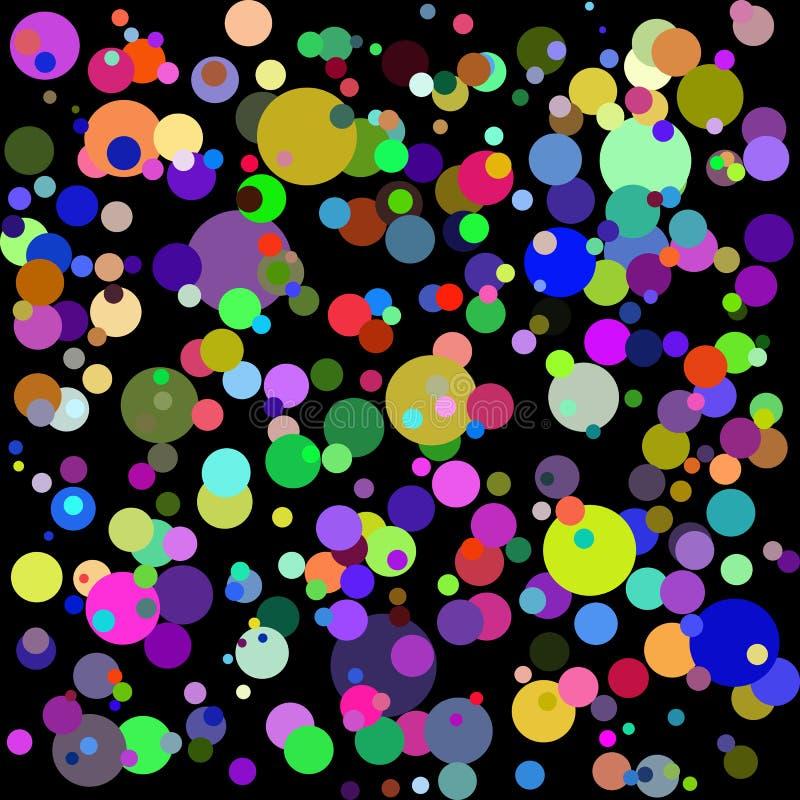 Fundo multicolorido gráfico fresco do sumário do vetor; círculos coloridos no fundo preto; pode ser usado para papéis de parede,  ilustração do vetor