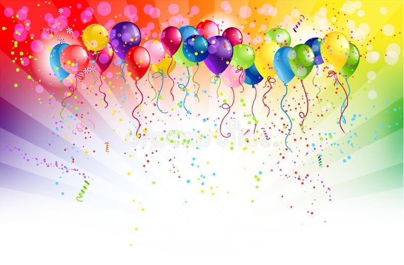 Fundo Multicoloured com balões ilustração stock