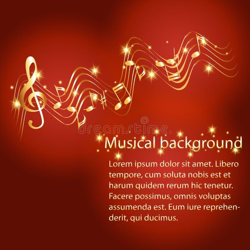Fundo musical abstrato com pauta musical do ouro ilustração stock