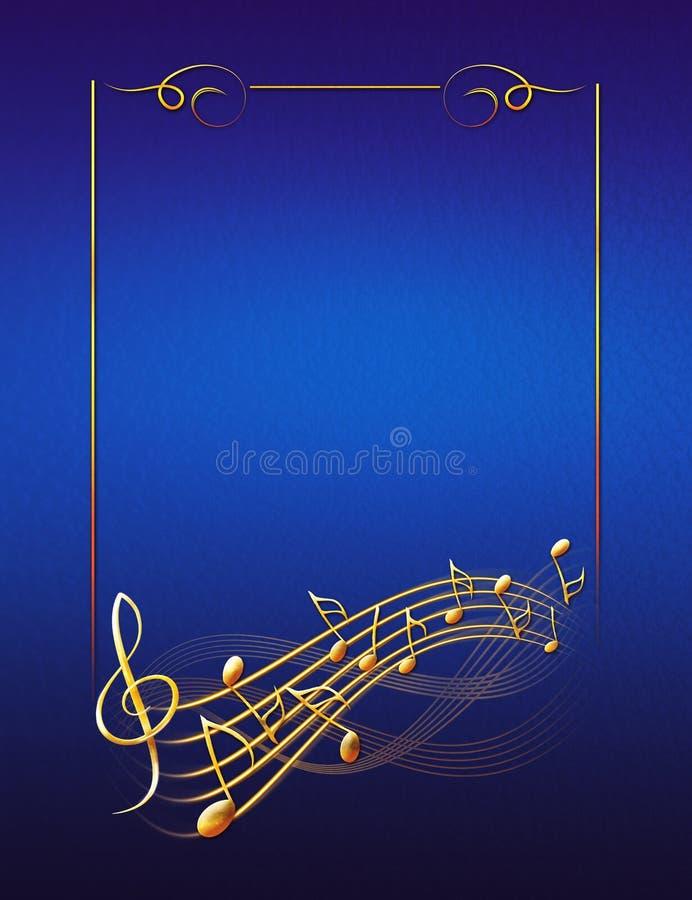 Fundo musical azul com notas e clave de sol do quadro do ouro ilustração stock