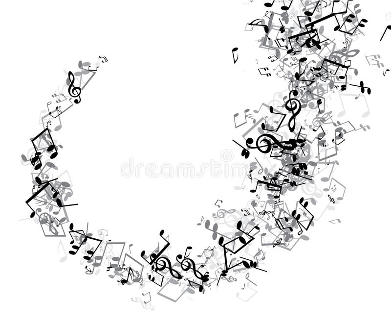 Fundo musical branco com notas ilustração royalty free
