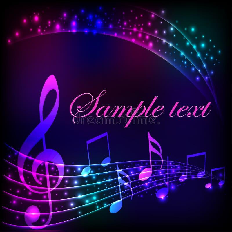 Fundo musical com as estrelas brilhantes brilhantes e o g ilustração royalty free