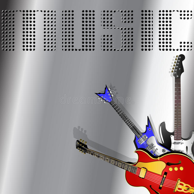 Fundo musical com guitarra fotos de stock royalty free