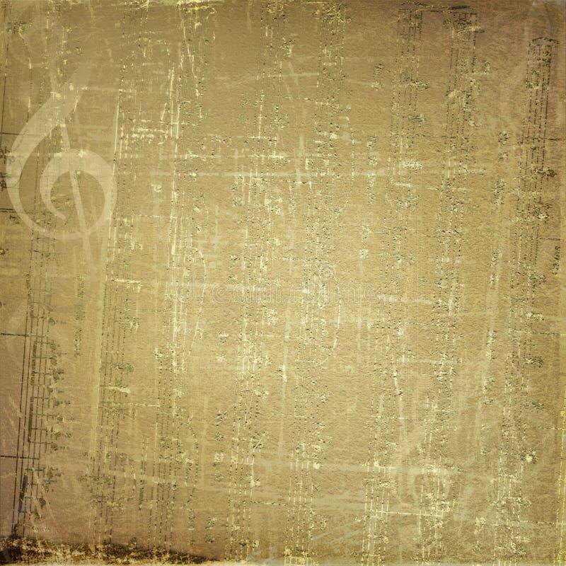 Fundo musical de Grunge com notas de ouro ilustração do vetor