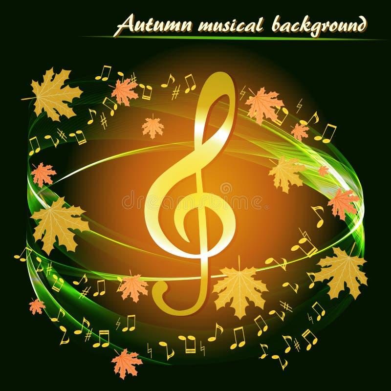 Fundo musical do outono com uma clave de sol dourada ilustração stock