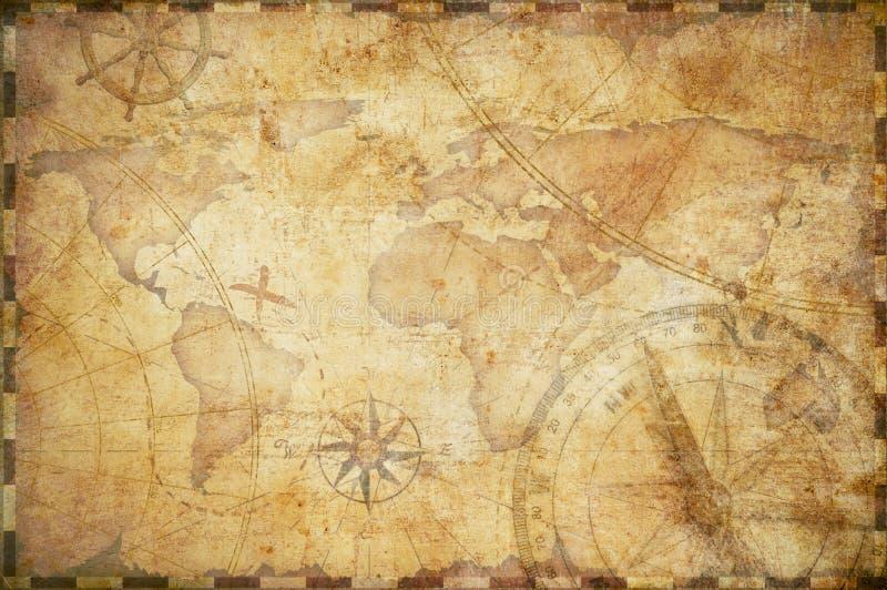 Fundo náutico velho do mapa do tesouro ilustração royalty free